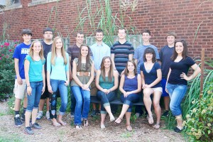 Submitted by Jeni Yantis This year's homecoming court includes: Front–Freshman attendant Chloe Weybright, Sophomore attendant Madison Fox, Senior Queen Candidates Shelby Dash, Abigail Weybright, Emily Scott, and Mollee Decesaro and Junior attendant Keeley Benning.  Back–Freshman attendant Brendon Lane, Sophomore attendant Brandon Peters, Senior King candidates Kainan Bushert, Luke Anstrom, Dillon Walker and Brody Sparks and Junior attendant Justin Vander Burgh.