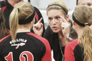 Photo by Keith Stewart Sullivan head coach Heather Lindenmeyer tells her team to get focused during a second set timeout Tuesday night. The Redskins did just that, cruising to a 25-19 win.
