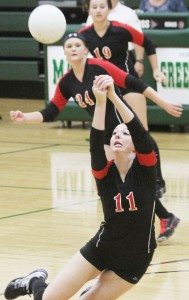 Photo by Keith Stewart Sullivan's Brittin Boyer dives for the ball during Saturday's tournament at Mattoon. Her effort during the five matches earned her a spot on the all-tournament team.