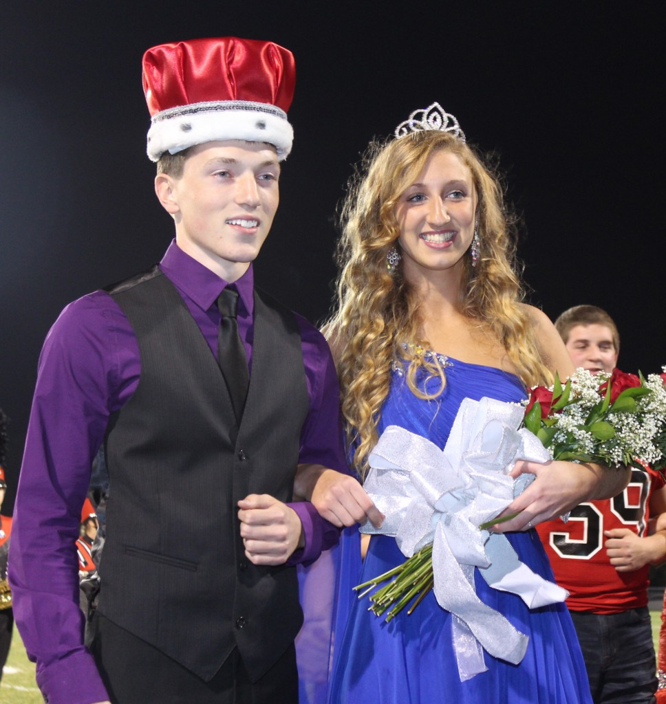 Photo by RR Best Sullivan High School named Maggie Plank and Adam Davis as their 2013 homecoming Queen and King at the SOV football game Friday, October 11.