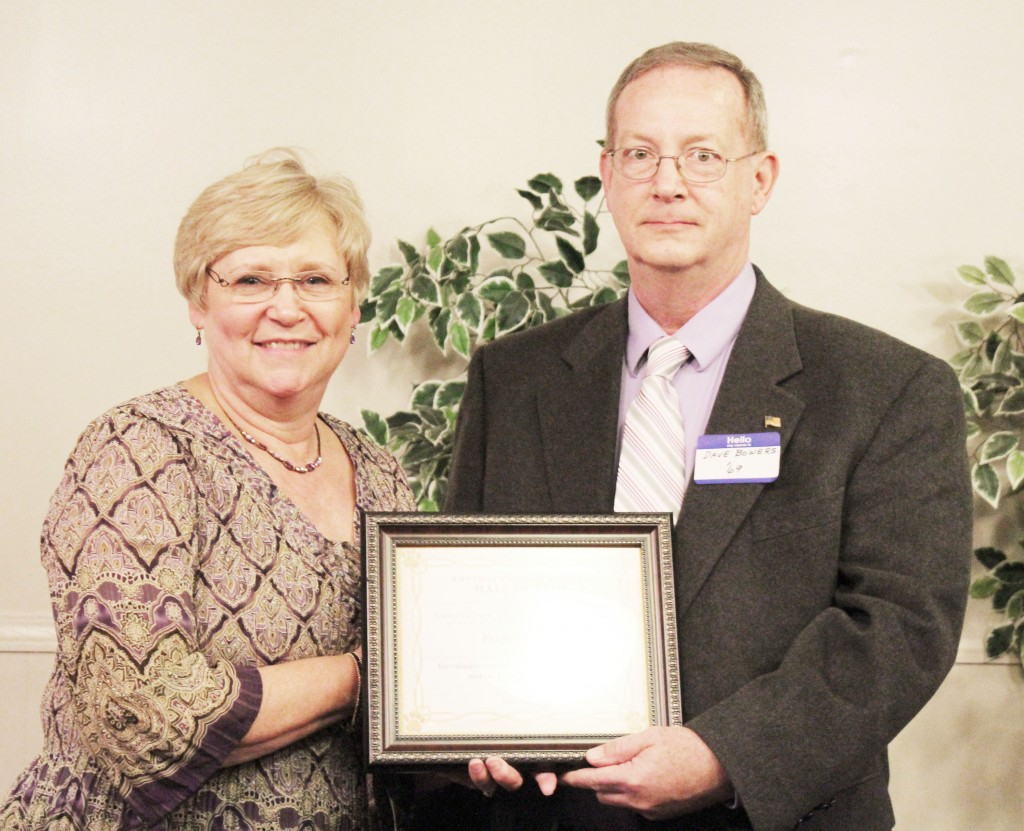 Submitted by Alma Fair Outstanding Graduate Hall of Fame David Bowers, son of Francis Bowers of the class of 1943, accepted the award presented posthumously to his father honoring his success as a business man and his years of service to the Lovington community and school district.