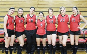 Photo by Keith Stewart Sullivan celebrated senior night last Thursday. Pictured, left to right, are: Maggie Plank, Tori Floyd, Christina Brown, Karley Hamm, Haylie Payton, Alex Love, and Nicola Grohler.
