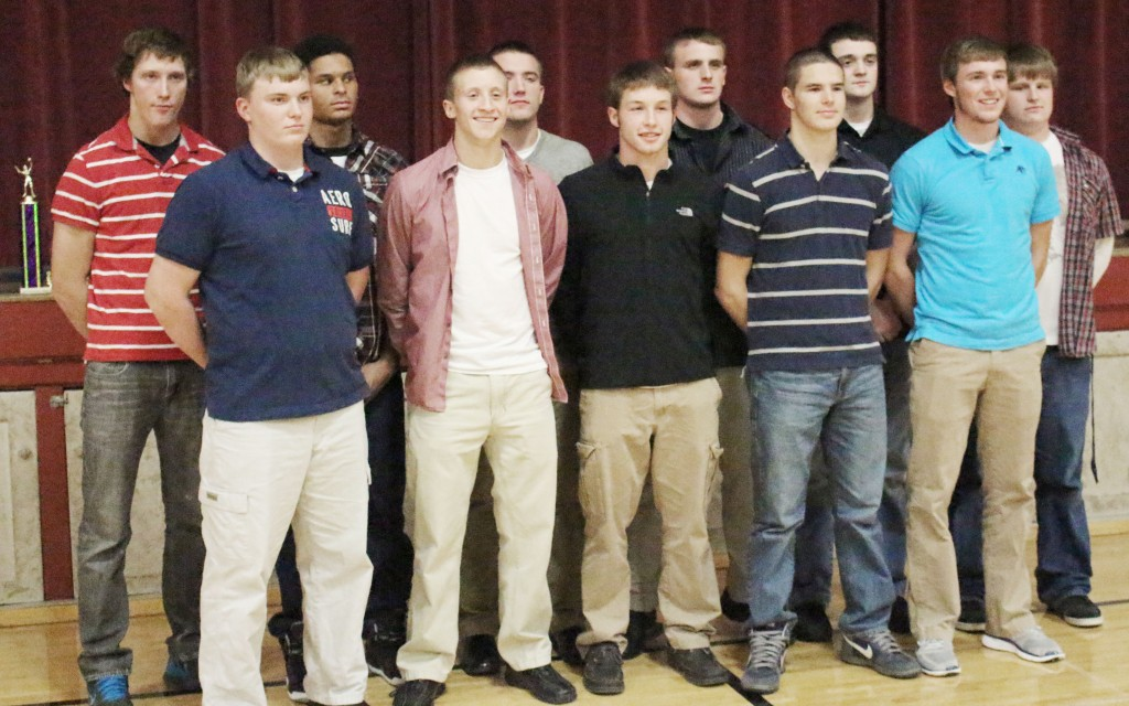 Photo by Darian Hays ALAH Football Banquet The Arthur-Lovington/Atwood-Hammond football team held their sports banquet Tuesday, November 19. Pictured, Front row, L-R: David Rosenbaum, Most Improved; Tyler Schuring, captain & offensive player of the year; Curtis Plank, captain; Steven Wright; and Mitchell Helton, captain & coaches' award. Back Row, L –R: Jesse Ruff; Jordan Feagin, special teams player of the year & offensive player of the year; Logan West, captain, defensive player of the year, & MVP; Colton Yeakley; Dylan Black; and Brandon Bontrager. Not pictured is Ethan Gingerich, lineman of the year. The team also celebrated 15 All-LOVC selections. First team: Logan West, offensive lineman, linebacker; Tyler Schuring, quarterback; Jordan Feagin, running back, defensive back; Curtis Plank, wide receiver, defensive back; Ethan Gingerich, defensive lineman; Jesse Ruff, punter. Second team: Dylan Black, offensive and defensive lineman, ; Colton Yeakley, offensive lineman; Steven Wright, running back; Jesse Ruff, defensive lineman; Steven Wright, linebacker; Tyler Schuring, defensive back; Jordan Feagin, place kicker. Honorable mention: Mitchell Helton, wide receiver, linebacker.