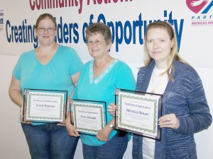 Submitted The C.E.F.S. Head Start 0-5 Program Policy Council recently recognized three volunteers who completed their three year terms of service on the council. Pictured (L-R): Stacey Rubsam of Effingham, Ethel Wagner of Shelbyville and Michelle Nolan of Sullivan.