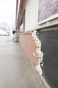 Photo by Keith Stewart The southwest corner of the Casey's store front remains damaged after a hit and run incident occurred on December 28. The damage went beyond just the outside facade  to include the kitchen and an office inside as well.