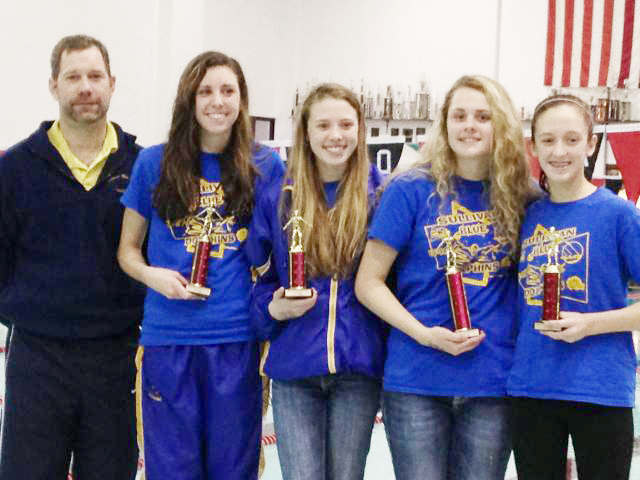 "Submitted by Don Rousser Dolphins ""Sprint to the End"" Bradley Bourbonnais Swim Club hosted ""Sprint to the End"" at Bradley Bourbonnais High School Jan. 26.  Eighteen Blue Dolphin swimmers competed, and the following were high point winners: Emily Oligschlaeger first 8 and under division; Gabrielle Spain first 9-10 girls; Natalie Drury second place 11-12 girls; McKenna Kull first place 13-14 girls; Anna Wooters, third place 13-14 girls; Brynna Sentel first place 15 and over girls. Pictured from left to right are head coach Jason Drury, Brynna Sentel, Anna Wooters, McKenna Kull and Natalie Drury. Not pictured are Emily Oligschlaeger and Gabrielle Spain."