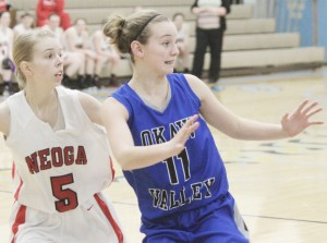 Photo by Keith Stewart OV's Chloe Weybright looks for a pass Tuesday night.
