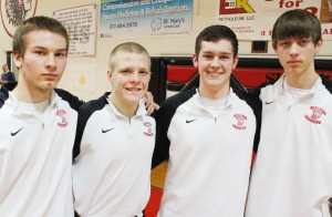 Photo by RR Best Pictured are the Sullivan boys' basketball seniors, who were recognized at Friday's basketball game against Central A&M. From left to right: Zak Britton, Shane Atchison, Cody Maxedon, and Derrick Stain.