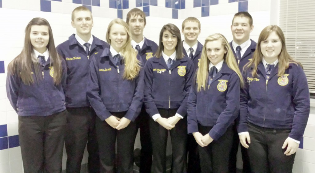 Submitted by Britney Cowan Section 16 Proficiency Awards The following members of Windsor's FFA competed in proficiency awards February 10:Autumn Bennett - 4th place Beef Production Entrepreneurship; Katie Cline - 4th place Goat Production; Sarah Hostetter - 3rd place Agriculture Sales Placement; Spencer Blackburn - 2nd place Turf Grass Management; Tristan Warner - 1st place Diversified Crops Placement; Allie Bridges - 1st place Nursery Operations; Sydney Boehm - 1st place Equine Science Entrepreneurship; Hayden Cole - 1st place Agriculture Mechanics Repair & Maintenance Placement.Warner, Bridges, and Boehm will compete at the district competition March 12 at Sullivan. Pictured left to right are Allie Bridges, Tristan Warner, Autumn Bennett, Mitchell Haddock, Sarah Hostetter, Spencer Blackburn, Sydney Boehm, Hayden Cole, Katie Cline