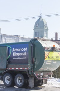 Photo by Keith Stewart An Advanced Disposal garbage truck is seen in the parking lot of McDonald's Tuesday afternoon in Sullivan.