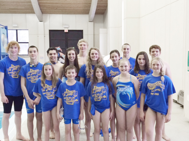Submitted Winter Regionals Pictured is the Sullivan Blue Dolphins team that went onto the Springfield winter regional championships hosted by the Academy Bullets. Finishing with either eighth place or better: Natalie Drury: first-100 back; second-50 back & 100 IM; sixth-50 fly; seventh-200 back & 100 breast; eighth-50 free & 100 free. Charlie Goss: first 50 free, 100 breast, 200 back, 100 back, 200 breast, & 200 IM; second-100 fly & 100 free. Bryce King: fourth-100 fly & 100 back; eighth-400 IM. Grant King:first- 200 fly & 100 back; second-200 back; fifth-100 fly & 400 IM; sixth-200 IM. Dalace Ray: fifth-100 breast. Connor Russell: second-200 fly; seventh-100 fly & 400 IM. Dylan Sanders: second-200 fly; fifth-500 free; sixth-100 fly. Brynna Sentel: second-500 free, 100 free, & 200 IM; third-200 free; sixth-100 fly. Gabrielle Spain: second-200 free; third-100 fly & 50 fly; fourth-100 IM; fifth-500 free; sixth-100 back;eighth-100 breast. Pictured front row: Gabrielle Spain, Noah Spain, Sophia Nuzzo, Mackenzie Erixon, and Calista Clark. Back row:Connor Russell, Dylan Sanders, Bryce King, Brynna Sentel, Dalace Ray, McKenna Kull, Natalie Drury, Jessica Renfro, Charlie Goss, and Grant King. Not pictured is Madison Fox, Anna Wooters, and Lauren Russell.  In all, 18 swimmers qualified to compete in the Springfield regional. Goss, Spain, Sentel, and both Grant and Bryce King advanced to the State Age Group meet held March 13-16. Full results from the Springfield winter regional may be viewed at www.results.teamunify.com/ilabsc.