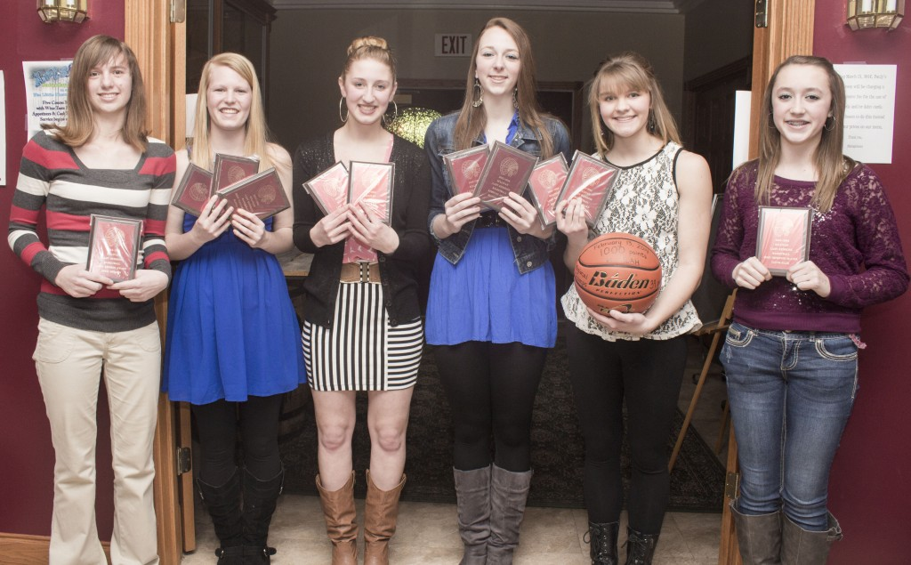 Photo by Keith Stewart SHS Girls' Basketball Banquet The Sullivan girls' basketball team held their awards banquet last Thursday at the Sullivan Country Club. Pictured left to right are: April Shuman, Lady Redskin award; Elissa Stewart, MVP, top defensive player (129 steal, 5.2 pg), captain, All-OVC honorable mention; Maggie Plank, captain, hustle and heart award; Brittin Boyer, captain, top rebounder (250, 10pg, 16.4ppg) first team All-OVC, fourth team All-State; Emily Neuhauser, captain, top offensive player (464 points, 18.6ppg), first team All-OVC; and Tatum Ellis, most improved player.