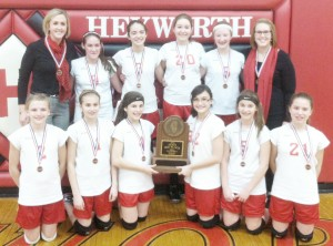 Submitted Pictured is the Arthur-Lovington seventh grade volleyball team that finished third in the state tournament Tuesday evening in Heyworth.