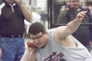 Photo by Keith Stewart Trey Schlieker prepares to release during the shot put Saturday. He finished 10th with a throw of 42-7 1/2 feet.