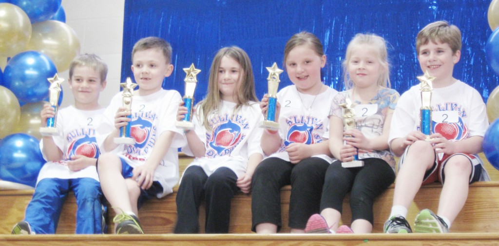 Submitted by Don Rousser Busterball Winners Pictured is the first grade first place trophy winners from the Sullivan Blue Dolphin Busterball Tournament held March 29: Addison Stollard, Mason Booker, Claire Welch, Rhett Lehman, Gareth Coffer, and Elise Fleming. For full tournament results, click here.