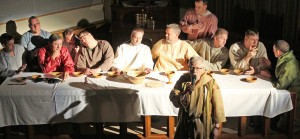 Photo by RR Best Pictured are the 12 disciples during the reenactment of the Last Supper at the First United Methodist Church. Pictured, left to right, are: Don Schmidgall, John Love, Steve Bonnett, Steve Austin, Dustin McDermith, Damon Moody, Mike Craig, Rich Benning, Mike Grose (with microphone), Jeff Gregory, Bruce Hecht, and David Sowers. The church will have the reenactment Thursday at 7:30 p.m.