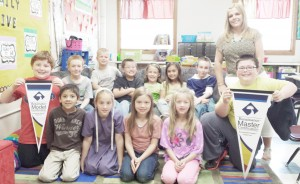 Submitted Pictured is Arthur second grade teacher Kirsten Perkins and her class, which was recently recognized for outstanding achievements in reading. Front Row (left to right) Jesus Corona,  Amy Otto, Selene Rohr, Samantha VanMeter, and Jaydon Yoder. Back Row (left to right) Malachi Gutierrez, Chris Miller, Hunter Grant, Isaiah Sawyer, Evanger Wiley, Ayla Condill, Kayden Bontrager, and Kirsten Perkins. Not Pictured: Darren Miller, Martha Herschberger, Lacey Knox, and Jaylon Herschberger.
