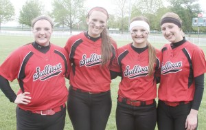 Photo by Keith Stewart The Sullivan softball team celebrated their seniors Saturday morning before their game against Okaw Valley. Pictured, from left to right, are seniors: Elizabeth Inman, Christina Brown, Taylor Gottfriedt, and Maggie Plank.