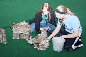 "Submitted Pictured are Hillary (Brianna Creviston), left, and Sarah Kate (Gretchen Macklin), right, exploring the wonders of the Elves Village during the OVHS drama club's production ""Afternoon of the Elves,"" which will be on stage at the high school May 9 and 10."