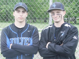 Photo by Keith Stewart Pictured are Okaw Valley's two seniors who were recognized before Tuesday's game against Decatur LSA: Kainan Bushert (left) and Colton Sroka (right).