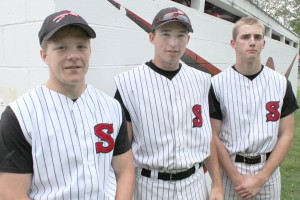 Photo by RR Best Pictured are Sullivan's three seniors who were recognized at Tuesday's game against Arthur-Lovington/Atwood-Hammond. From left to right: Shane Atchison, Griffin Sullivan, and Travis Hanson.