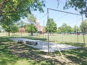 Photo by RR Best Pictured is one of two batting cages at Wyman Park. The one above, located near the far north diamond, is in the final stages of being completely renovated, while the second batting cage, located near the Leon Lane baseball diamond is ready for use.