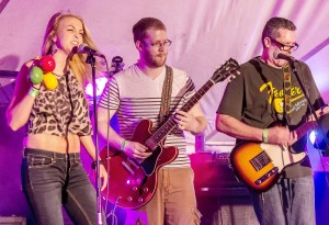 "Photo by Stan Smart Members of Sullivan based band ""Them Gringos"" Lauren Harris (left), Steffen Shook (middle), and Jerry Snyder (right) perform Saturday evening at the Bethany Celebration."