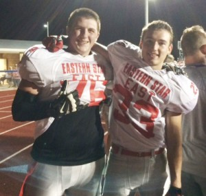 Submitted All-Star Football Griffin Sullivan (right) and Garrett Cuffle (left) joined several area 2014 seniors to play in the Order of the Eastern Star All Star football game on Saturday in Maroa. The West beat the East 27-24. Arthur-Lovington/Atwood-Hammond's Logan West was also on the East team.