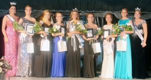 Submitted Miss Mo-Do Miss Moultrie-Douglas was crowned Tuesday evening in Arthur. Pictured, left to right, are: 2014 Miss Illinois County Fair Queen Summer Robbins; Lauren Moss, People's Choice, Tuscola; Olivia Christy, 2nd runner-up, Tuscola; Brittany Rader, 1st runner-up, Lovington; Maria Meyer, 2014 Miss Moultrie-Douglas, Tuscola; Kiela Martin, 3rd runner-up, Villa Grove; Michelle VanCleave, 4th runner-up, Tuscola; Alexandra Minott, Miss Congeniality, Newman; outgoing 2013 Miss Moultrie-Douglas Christine Fortney. See page 4 for this year's entire newly elected royalty.