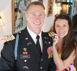 Photo by RR Best Promoted to Major Jake Hughes of Sullivan was recently promoted to Army Major. His promotion was celebrated with family and friends Sunday, June 8 at Skeeters. Pictured is Hughes with his wife Kristy. Hughes is the son of Roger and Karen Hughes.