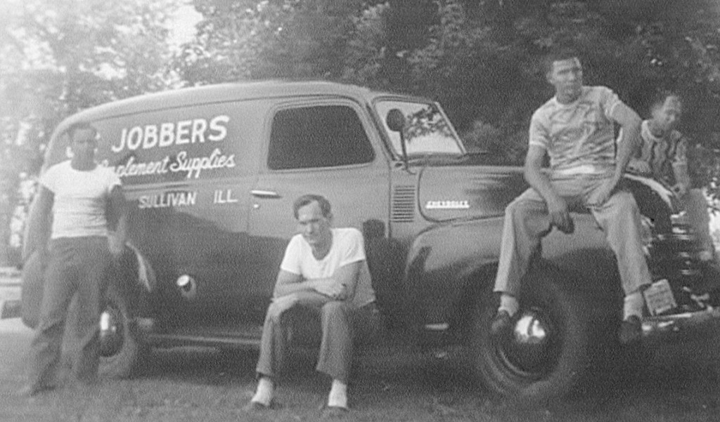Moultrie Moment of the Week                                                    Pictured from 1946 is a new OK Jobbers' delivery truck. From left to right: Hank Butler, Floyd Buckalew, Albert Wilhem, and Lynn Huntsburger - Owner/Founder. If you have any other information, please contact the Moultrie County Historical Society at 217-728-4085.