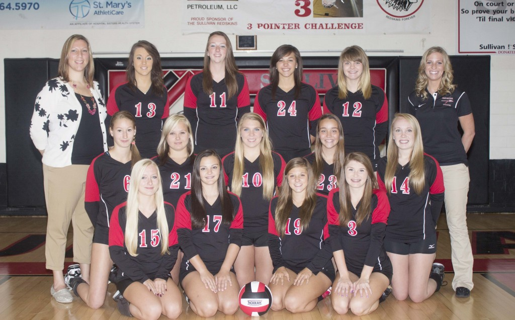 Photo by Keith Stewart Pictured, front row, left to right, are: Tiffany Wallis, Sara Griffin, Abby Elzy, and Alyssa Marshall. Second row: Elaina Crawford, Jazmyn Jayne, Lily Bales, Seleste Smith, and Becca Pratt. Back row: Assistant coach Jennifer Young, Taylor Booker, Brittin Boyer, Kailyn Boyer, Emily Neuhauser, and head coach Krista Smith.