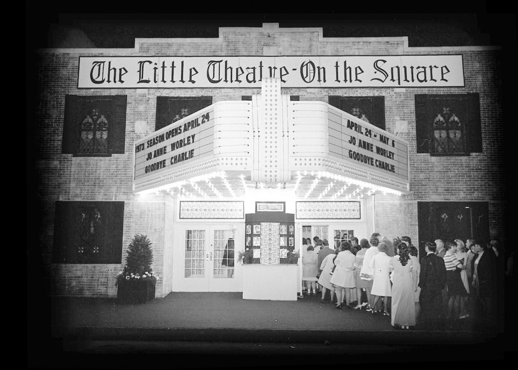 "Photo by David Mobley/Courtesy of Booth Library Special Collections, Eastern Illinois University. Pictured is the Little Theatre on the Square in April 1973. The  first show was ""Goodbye Charlie,"" starring JoAnne Worley."