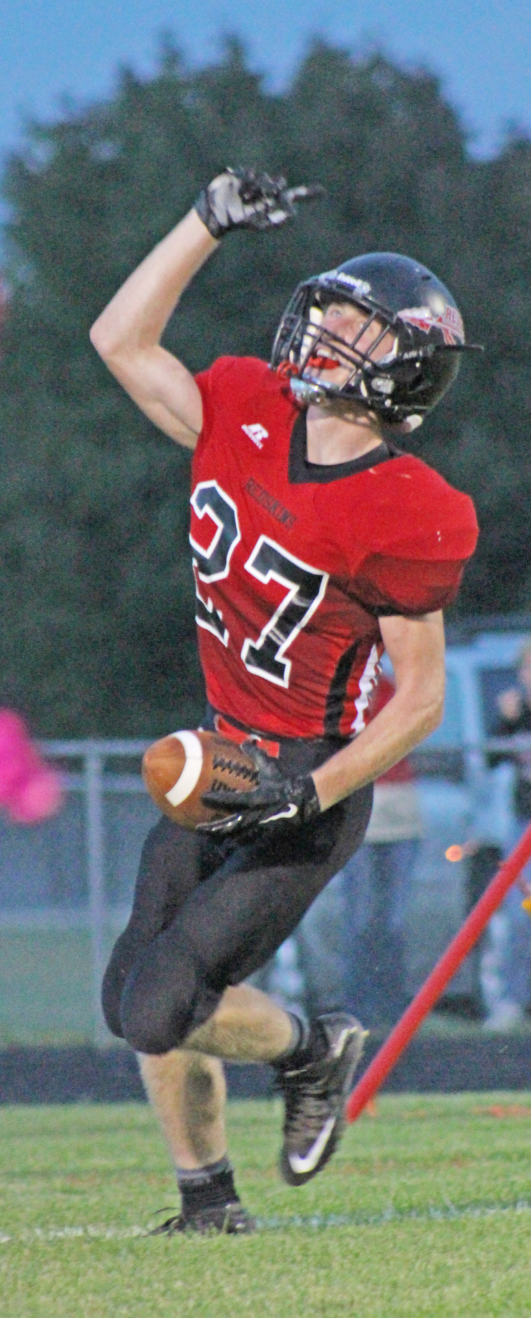 Photo by RR Best SOV  Redskin Jake Eaton celebrates following this touchdown against Warrensburg-Latham last Friday in Sullivan.