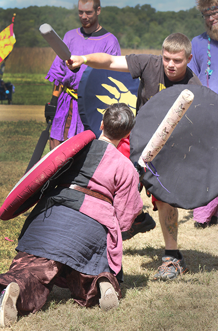 Photo by RR Best Battleground fights with foam protected weapons allow the medieval warriors to score points and advance to the next level much like popular video games.