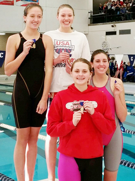 Photo submitted Blue Dolphin first place relay team. Top row- Natalie Drury, Anna Wooters Bottom row- Brynna Sentel, McKenna Kull.
