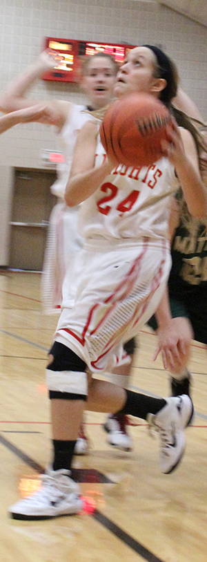 Photo Submitted Hannah Wallen led the Lady Knights with 17 points over Shelbyville in Knights Classic Tournament play.