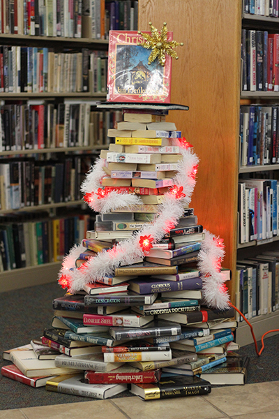 Photo by Darian Hays The Lovington library has taken Christmas to a new level with their unique book Christmas tree now on display at the library.