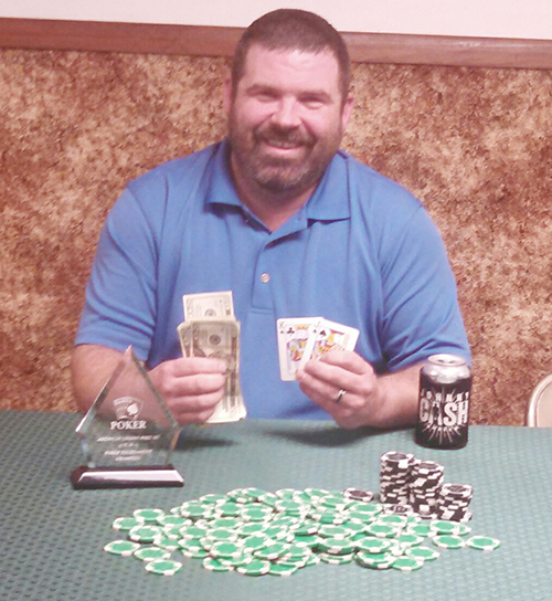 "Photo provided Bethany Legion Poker Winner Matthew ""The Head"" Hunter was winner of the Bethany American Legion Post 507 poker tournament that was held Dec 12.  Hunter bested a field of 57 players to bring home the trophy and win the biggest tournament to date."