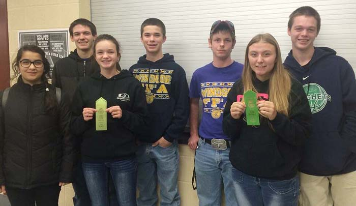 Windsor FFA  Chapter Applies Vet and Food Science The Windsor FFA chapter went to Clinton for the Vet and Food Science CDEs Dec. 2. Participants were Tucker Cripe, Bailey Fleshner, and Raymond Miller and activities included the proper carrying of a cat, filling a syringe, filling a prescription, tying a knot, equipment identification, and a written test. The team placed sixth overall.  Participants in Food Science were Owen Bridges, Mehria Khan, Kendra Reed, and Gage Sattler. The activities performed were aroma testing, food sanitation and safety scenarios, brand vs. off-brand identification, and a team product development activity. The team placed seventh overall.  Photo Submitted Windsor FFA  participants (from left to right): Mehria Khan, Gage Sattler, Kendra Reed, Owen Bridges, Tucker Cripe, Bailey Fleshner, and Raymond Miller.