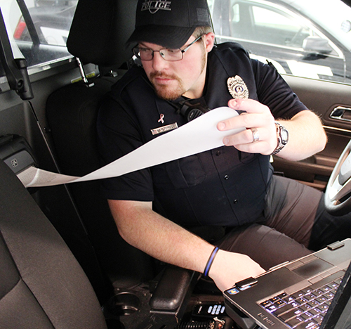 Tickets printed in the patrol cars around Moultrie County make for easier reading and required some extra training. Sullivan officer Joshua Qualls is responsible for the smooth operaton of the eCitation system within the city.