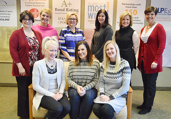 Photo Submitted Members of the 2016 La Grande Soirée committee are: (front row, left to right) Amanda Yost, Jerri Pine and Tricia Dye; (back row, left to right) Beth Preston, Lissa Skocy, Karen Littleford, 2016 Committee Chair; Debra Sandercock, Kim Lockart, special event coordinator, and Colleen Stoner, volunteer coordinator. Committee members not present are Beth Catt, Eva Higgins, Jodi Hildebrandt and Cathy Ols.