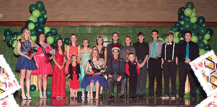Photo furnished Windsor Homecoming Royalty Windsor High School held its 2015 homecoming dance December 12.   The theme this year was Adventures in Wonderland. Homecoming Royalty: Front Row:  Crown Bearer Ellyn Boyer, 2015 Homecoming Queen Kristen Morlen, 2015 Homecoming King Mitchell Haddock, and Crown Bearer Evan Pfeiffer. Back Row: Queen Candidates Mercedez Austin and Breana Wiltermood, Junior Class Attendant Kaitlyn Armes, Sophomore Class Attendant Mikayla Haddock, Freshmen Class Attendant Carson Cole, 2014 Homecoming Queen Taylor Higgins, 2014 Homecoming Attendant Uriah Jones, Freshman Class Attendant Beau Bennett, Sophomore Class Attendant Charles Farmer, Junior Class Attendant Travis Fox, King Candidates Todd Elliott and Tyler Kemper.