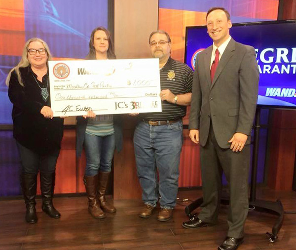 "Photo courtesy WANDTV Donor Matches 3 Degree Donation Moultrie County Food Pantry received WAND/IBEW 3 Degree Challenge donation on the air February 3. Director Kristy Dawson and Nancy Kenton from the Food Pantry  are pictured along with Ron Cummings from IBEW Local 146 and Chief Meteorologist JC Fultz.  ""I am so excited that we were able to give back to an area that I grew up in!"" the Bethany native said during the presentation. He announced the $1000 3 Degree donation had been matched by an anonymous donor to give the Food Pantry an additional $2000 to help those in Moultrie County."