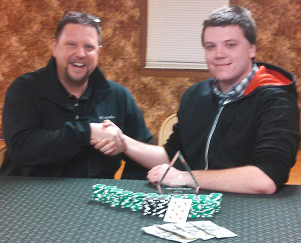 """Photo furnished Bethany Tournament Winners """"Iron"""" Mike Bryant and Josh """"The Hitman"""" O'Brien were co-winners of the American Legion Post 507 Poker Tournament held Feb 20. Bryant and O'Brien bested a field of 58 playersto bring home the victory!"""