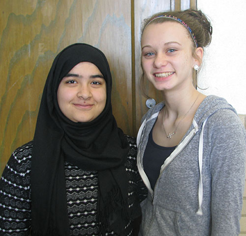 Photos furnished Windsor Students for February Mehria Khan has been named Windsor High School's February Student of the Month.  Mehria currently a junior and is the daughter of Naik Muhammad and Noria Saadat, her host parents are Brian and Phyllis Brunner.  She is a foreign exchange student from Pakistan.   While here she is involved in Student Council, Scholastic Bowl, Spanish Club, Art Club, FFA, Physics Club, Pep Club, Band, and Softball.  Upon her return to Pakistan she will study Pre-Med. Hannah Morlen has been named Windsor Junior High School's February Student of the Month.  Hannah is the daughter of Robert and Misty Reed.  She is currently in 8th grade and is involved in Cheerleading, Volleyball, Track, Scholastic Bowl, Class Secretary, Eco Team, and Team Quest.  She plans to one day be a Veterinarian. Pictured L to R:  Mehria Khan and Hannah Morlen