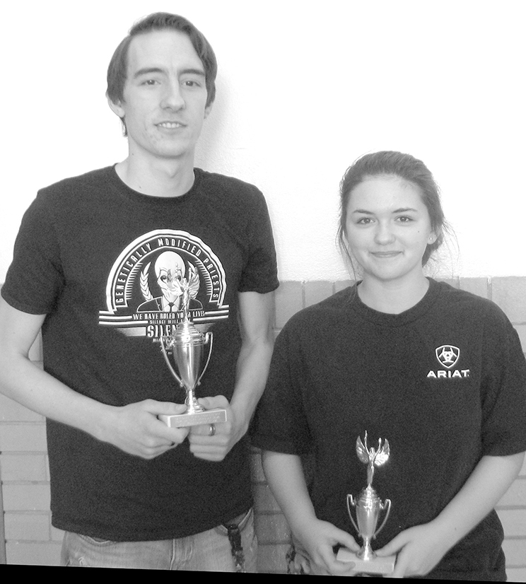 Photo furnished Windsor Scholastic Bowl Mitch Haddock, a senior at Windsor High School, made first team all-conference for the Scholastic Bowl season in the NTC conference.  Maranda Tarvin, a freshman at Windsor High School, made second team all-conference fconference. Pictured L to R:  Mitch Haddock and Maranda Tarvin.