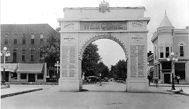 Pictured above is the Memorial Arch that stood on the NW corner of the square during & after WWI. It listed all the local men who served. It was torn down after the war.. Please submit photos to the News Progress for future consideration. Originals will be saved for return or forwarded to Moultrie County Historical Society. If you have any other information, please contact the Moultrie County Historical Society at 217-728- 4085.