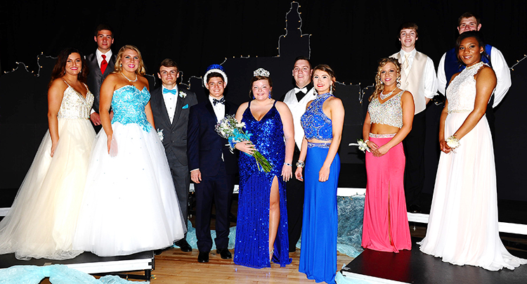 Photo courtesy Wurtsbaugh Photography Sullivan High School Prom Court From left front:  Whitney Elder, Lily Bales, King Ross Metzger, Queen Kelsey Clark, Alyssa Marshall, Jocelyn Nashland and Charlie Emel. From left back:  Andrew Frost, Alec Ballinger, Josh Davis, Kaleb Shumard and Kyler Houser. Prom was held Saturday,  April 23 with coronation ceremony at 9:00 p.m.