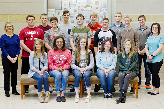 Photo Submitted Pictured in the first row from left to right are Hannah Goad, Charlie Emel, Emily Stutzman, Summer McClain and Danielle Tingey. In the second row are Robin Sesko (media specialist), Grant King, Ross Metzger, Ryan Baker, Evan Barker, Tyler Green and Cami Badman (English teacher). In the third row are Adam White, Zane Uphoff, Blake Stewart, Dalace Ray and Austin Minnigerode.